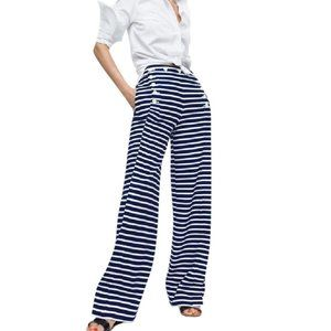 Striped Navy White High-waisted Sailor Pant Suit